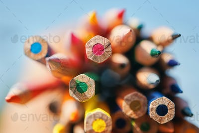 Close-up view of bunch of colored pencil