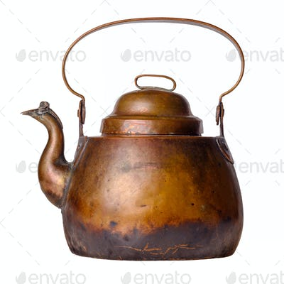 Aged antique copper kettle