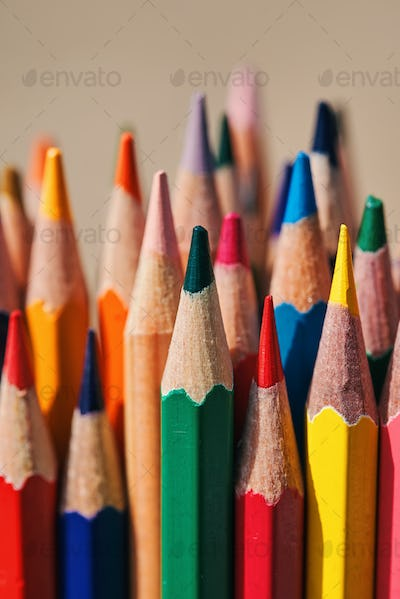 Close-up view of a bunch of the colored pencil