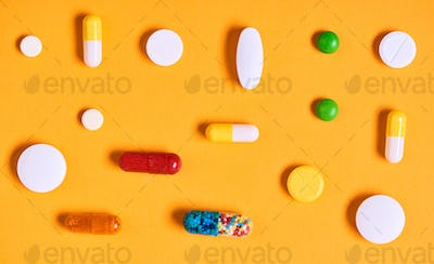 Medicaments On Yellow Background