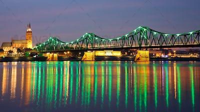 Bridge in Wloclawek at Night