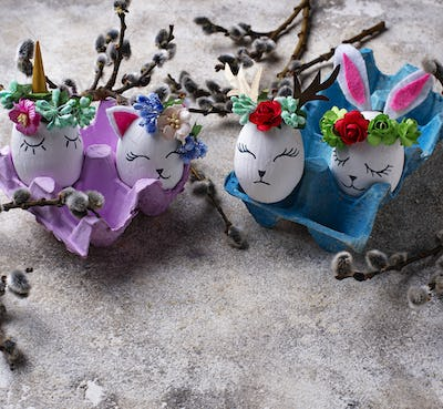 Easter eggs in shape of bunny, cat and deer