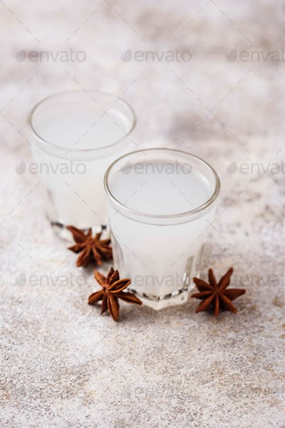 Traditional Greek ouzo, alcohol drink with anise