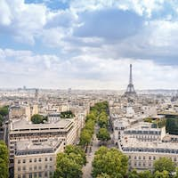 View of Paris city with cloudy sky, France