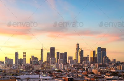 Downtown Los Angeles skyline at sunny day
