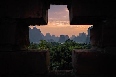 Yangshuo landscape at dusk