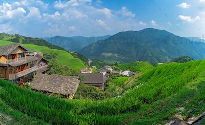 Panorama of cascading Longji Rice Terraces