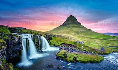 Picturesque landscape with Kirkjufellsfoss