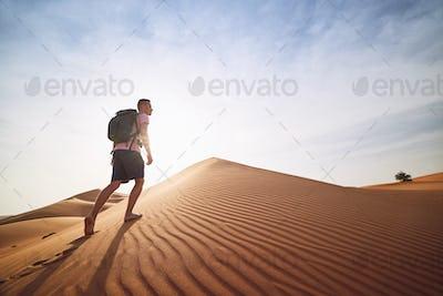 Tourist in desert