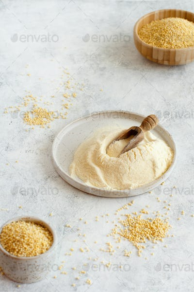 Hulled millet flour and grain