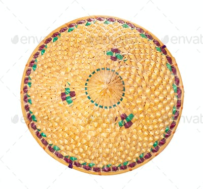 top view of Asian conical straw hat isolated