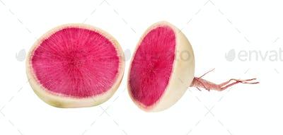 cut in half fresh watermelon radish isolated