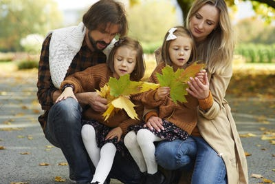 Family picking leafs in the autumn park