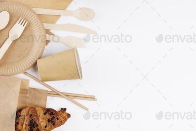 Eco friendly tableware on white background