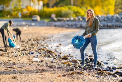 Dedicated young volunteers cleaning beach on sunny day