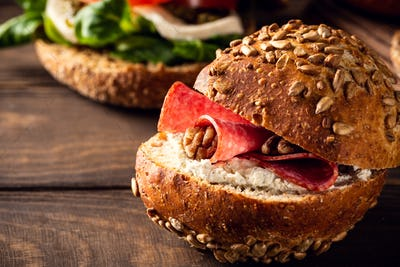 Sandwiche with salami and walnut