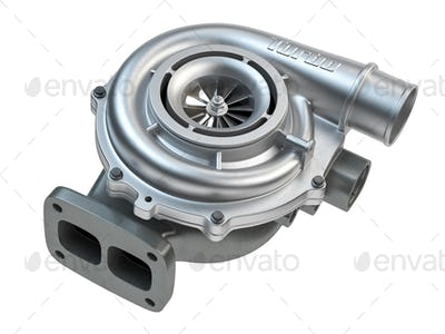 Car turbocharger isolated on white background. Auto part turbo engine.
