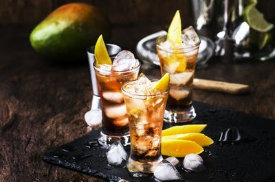 Alcoholic cocktail with mango