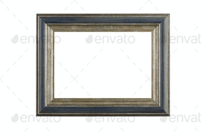 Beautiful wooden frame for pictures and photos. Isolated in a white background.