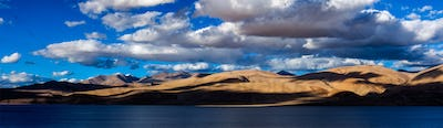 Panorama of Himalayan lake Tso Moriri. Ladakh, India
