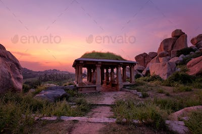 Ancient ruins of Hampi on sunset. India