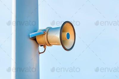 Street Loudspeaker Megaphone Mounted on the Post