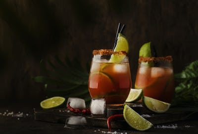 cocktail with beer, lime juice, tomato juice, spicy sauce
