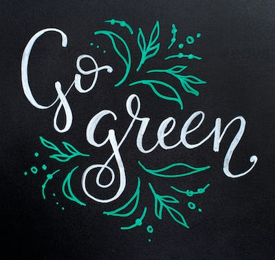 Chalkboard with Go Green lettering