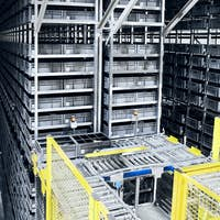 Modern automated warehouse management system.