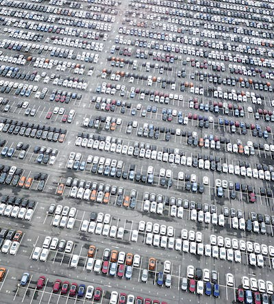 Rows of new cars in the parking lot