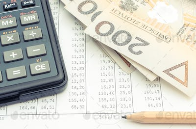 Polish currency money, pencil and calculator on spreadsheet