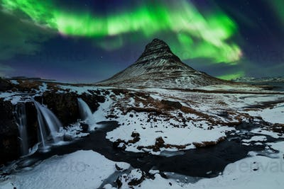 Northern Light, Aurora borealis at Kirkjufell in Iceland.