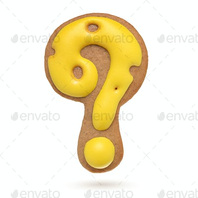 Question mark yellow gingerbread biscuit isolated on white.