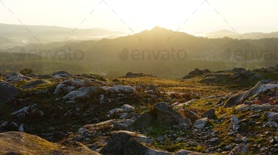 Panoramic landscape of the view from the Mount Galiñeiro in Vigo, Spain