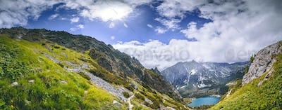 The green valley, Strbske Pleso lake. The Tatras