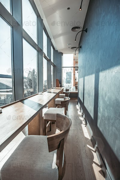 Restaurant interior with panoramic view