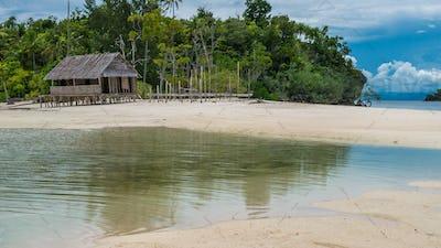 Empty Water Hut on Sand Bank between Kri Island and Monsuar. Raja Ampat, Indonesia, West Papua