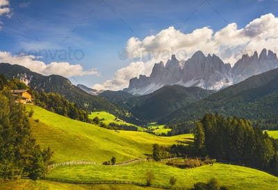 Funes Valley aerial view and Odle mountains, Dolomites Alps, Italy.