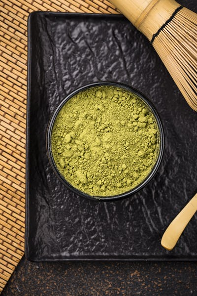 Japanese matcha green tea powder