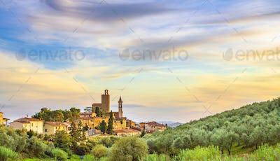 Vinci, Leonardo birthplace, village skyline and olive trees. Florence, Tuscany Italy