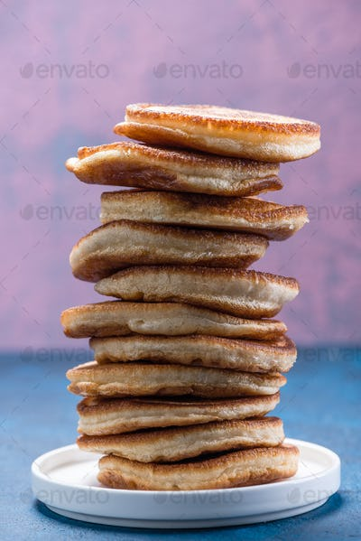 Stack Pile of Pancakes. Pancakes Tower. Copy Space