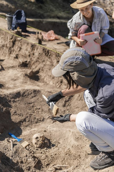 Archaeologist Working at Archaeology Site