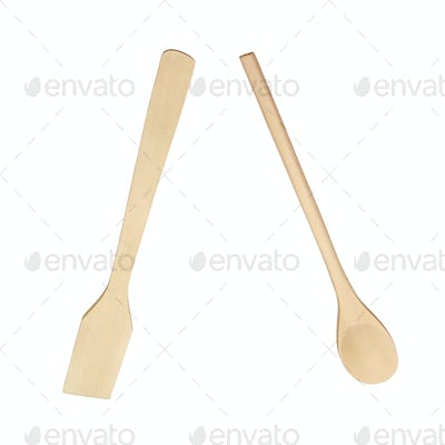 Set from wooden kitchen devices isolated