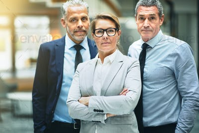 Confident mature businesswoman and two coworkers standing in an office