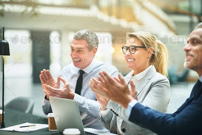 Smiling group of mature businesspeople clapping during an office presentation