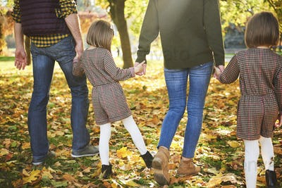 Rear view of family walking in autumn woods