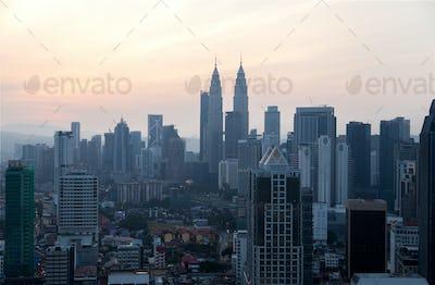 Timelapse of Kuala Lumpur city skyline during beautiful sunrise