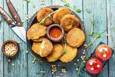Peas cutlets on a plate