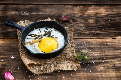 Egg in Cast-iron Frying Pan