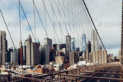 Details of the Brooklyn Bridge in New York City